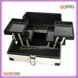 Caja de tren de aluminio superficial de cuero del artista de maquillaje de la PU del blanco a prueba de polvo (SACMC008)