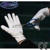 Отрезока PU Nmsafety перчатка безопасности 3 белого покрытого упорная