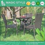 Rattan quente da venda que janta da cadeira Stackable de vime do pátio da mesa redonda da cadeira o jogo de jantar ao ar livre (estilo mágico)