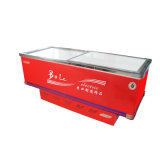 congelador liso do console do gabinete da porta 445L deslizante para o supermercado