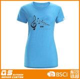 여자의 달리는 스포츠 t-셔츠