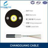 Núcleo de fibra óptica ao ar livre Não-Blindado do cabo GYXY 2-12 de Unitube com 2 fios de aço paralelos