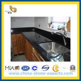 Partie supérieure du comptoir noires en pierre normales en gros de granit de stratifié de galaxie pour la cuisine/salle de bains