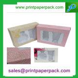 Caixa cosmética de papel de empacotamento cosmética impressa costume do cartão com indicador do PVC
