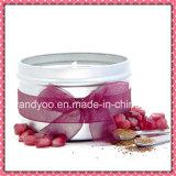 Vela perfumada personalizada de la cera de la soja en estaño
