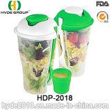 Eco-Friendly пластичный контейнер салата 800ml с одевать чашку (HDP-2018)