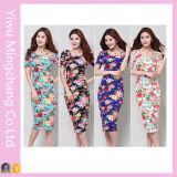 2016 vendaje al por mayor vestido cómodo floral MIDI vendaje vestido