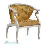 気高いボタンArmrest (HW-9780C)が付いている金ファブリック金属の椅子
