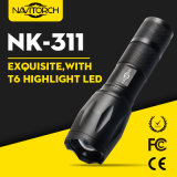 800内腔のクリー族のXml T6 Zoomable 18650の戦術的な懐中電燈(NK-311)