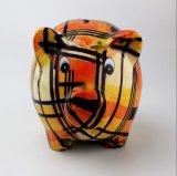 Batería guarra grande de cerámica pintada a mano con diseño del cerdo