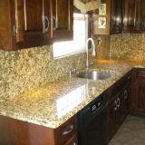 Верхние части кухни гранита Giallo Fiorito желтые