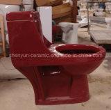 Inodoro de cerámica de una sola pieza del color del armario de agua baldeo (A-052)