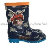 Zapatos de la lluvia del PVC de la historieta de los niños