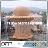 Fonte de água em pedra esculpida em mármore vermelho / amarelo para decoração de arvores de jardim