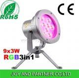 Indicatore luminoso subacqueo Tricolor del punto di IP68 27W RGB LED, lampada della fontana di 27W RGB LED