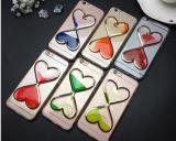 tipo caja del corazón 3D del teléfono de la arena movediza TPU para el iPhone 6
