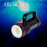 Haute qualité Bon emballage Archon Super Bright 5000-5500k 6, 500 Lumen Blanc LED 400 Lm Rouge LED Aluminium Scuba Dive Underwater Photographing Video Lights Wg76W