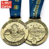 Preiswerte kundenspezifische grosse Bronzesport-Russland-Medaillen-Medaillon-Farbe mit Abzuglinie-Farbband