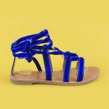 Santals de relation étroite de Madame Blue Velvet Belt Flats Ankel pour des femmes