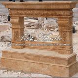 Cheminée d'or Mfp-631 de calcium de cheminée de cheminée en pierre de cheminée de marbre de granit