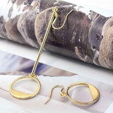 簡単な方法宝石類金カラー空の円形の非対称は低下イヤリングをぶら下げる