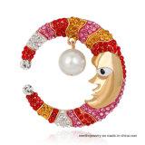 Brooch variopinto della perla del Rhinestone della luna di nuovo di disegno del fumetto modo del totem