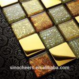 Metallmischungs-Glasmosaik, Wand-Kunst-Ineinander greifen Mouted Goldfolien-Mosaik, Mosaik-Wand-Fliese