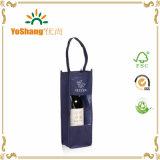Sacs non tissés de cadeau de transporteur estampés par coutume de bouteille de vin avec le guichet clair