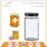 vasi esagonali di vetro del miele 300ml con la protezione dell'aletta