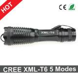 Torcia chiara calda di Zoomable LED di modi della torcia elettrica 5 del CREE Xml-T6 di vendita