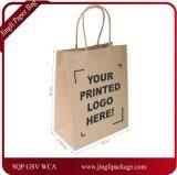 Sacs en papier blancs de Papier d'emballage, achats, Mechandise, usager, sacs de cadeau, sac de papier d'emballage avec le logo d'impression, sac à provisions de papier avec le logo d'impression
