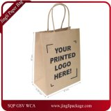 Kraft 백색 종이 봉지, 쇼핑, Mechandise 의 당, 선물 부대, 인쇄 로고를 가진 Kraft 종이 봉지, 인쇄 로고를 가진 서류상 쇼핑 백