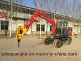Excavador hidráulico de la pequeña rueda con el taladro rotatorio