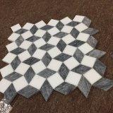 ホーム装飾のための水晶白いおよび灰色の大理石3Dデザインモザイク