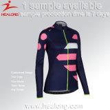 Bicicletta sublimata personalizzata delle ragazze che cicla la camicia della Jersey