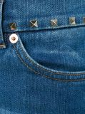 Women Blue Rivets Decorated Stretch Cotton Flared Leg Denim Jeans