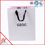 Sac de papier de achat estampé par logo fait sur commande de bonne qualité de boutique avec la corde en nylon bleue