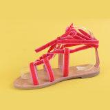 Sandali del legame della signora Red Velvet Belt Flats Ankel per le donne