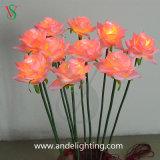 PU屋外の草の装飾のための物質的な人工的なLEDの花ライト