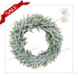 Grinalda preservada de venda quente popular com folhas e neve 30-48cm