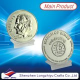 Ricordo Gold Silve Copper Medal Coin, Custom Challenge Coin Badges con Epoxy, S.U.A. Flag Paint Filled Medallions, Pin Coin del Corpo della Marina di Dual Plating Eagle Ice