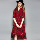 Gedrucktes elegantes lose Frauen-Abend-Blumenkleid
