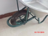 緑色の電流を通された金属の皿のゴム製一輪車