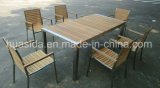 Conjunto de mesa de jantar de aço inoxidável de mesa de madeira de teca