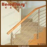 La balustrade de Rod d'acier inoxydable avec la balustrade en bois dans l'escalier partie (SJ-X1014)