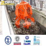 Hydraulischer Abfall, der orange Schalen-Zupacken handhabt
