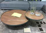 Mesa de centro limpia del vector de té de la venta al por mayor del marco del metal con la madera sólida 1set 3PCS