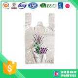 Sac matériel de T-shirt de Vierge de plastique sur le roulis pour des achats