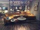 Золотистая мебель кожи угла цвета для живущий комнаты