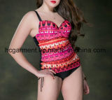 Desgaste de uma peça só impresso da natação do Mais-Tamanho, grande Swimsuit do tamanho para mulheres
